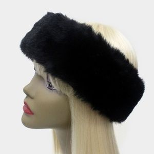 Stylish Black Faux Fur Earmuff Headband